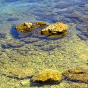 Kust, stenen in water. Eb.