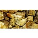Gele stenen muur. Donkere tint.