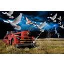 Oude brandweerwagen en vogels
