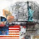 New York, Vrijheidsbeeld. Zwart witte achtergrond.